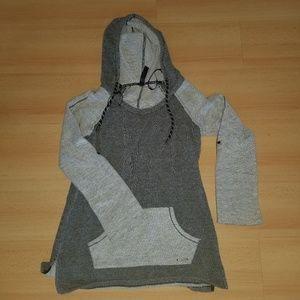 Tops - Light and dark grey hooded sweatshirt